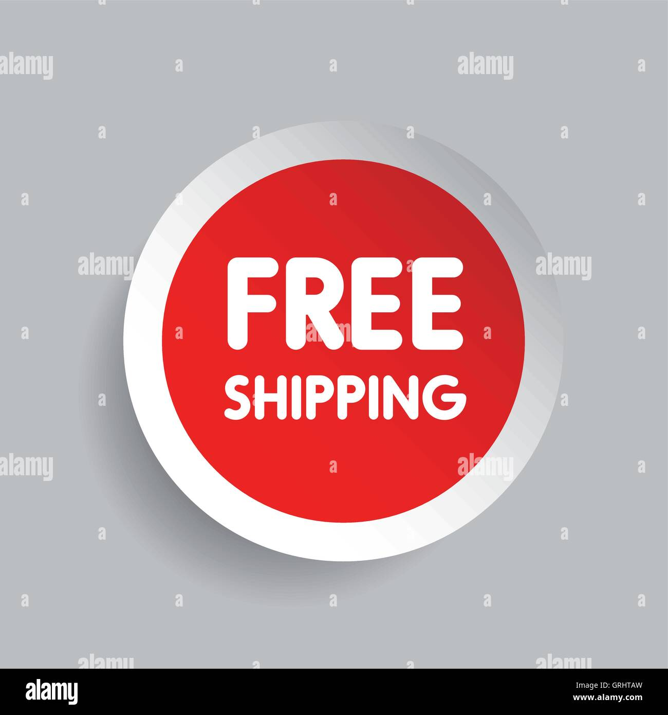 free shipping label vector red stock vector art illustration