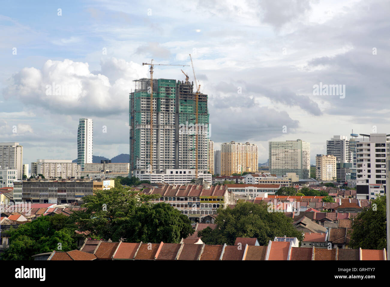 New Developments in Georgetown Penang a changing city skyline - Stock Image
