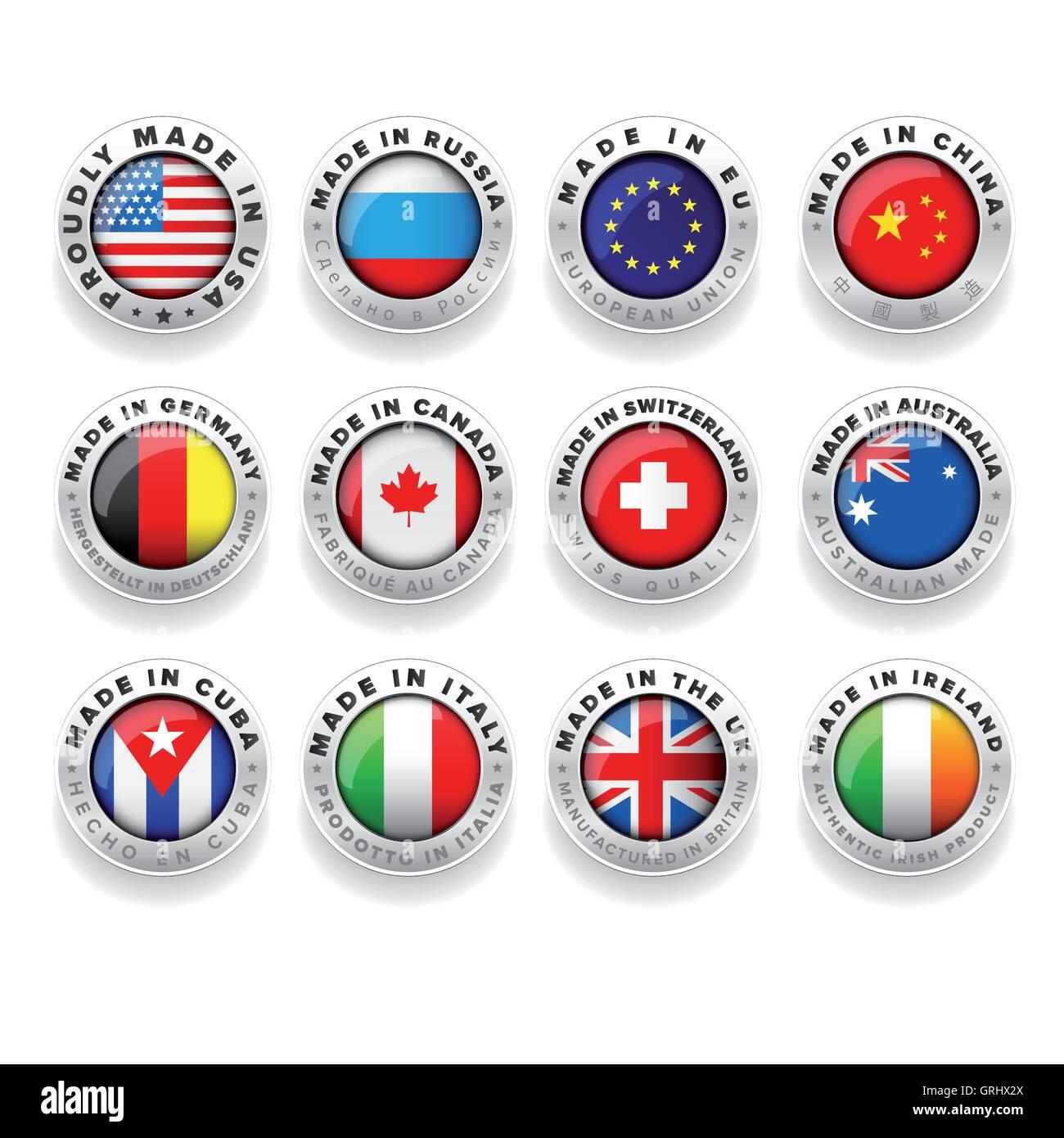 Made in Usa, Eu, China, Russia, Germany, Canada etc. - Stock Image
