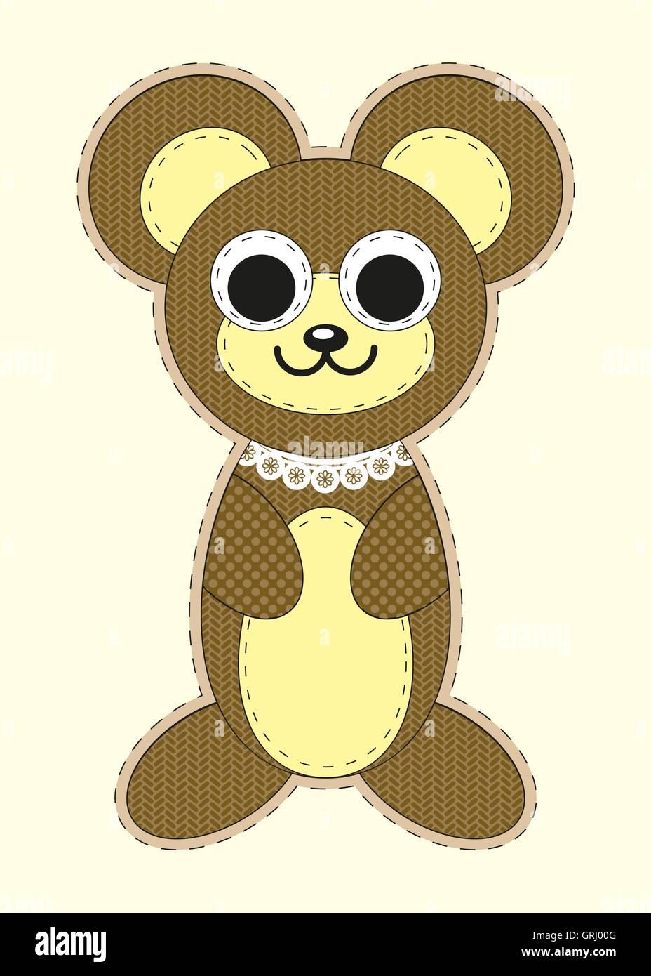 cute cartoon teddy bear in flat design for greeting card invitation