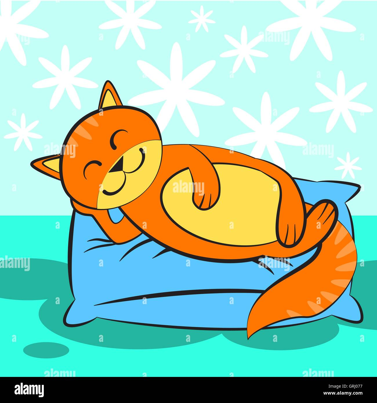 Cute orange cat sleeping on blue and a soft pillow. Vector - Stock Image