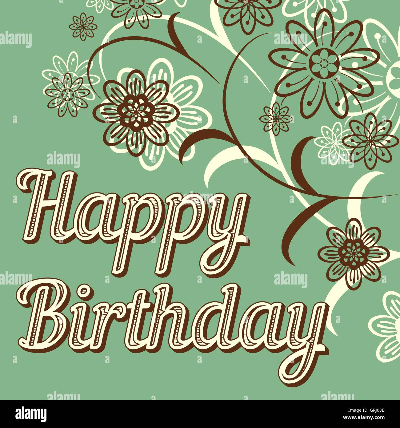 Vintage retro happy birthday card, with fonts, grunge frame and chevrons. Beautiful flowers. Vector - Stock Vector