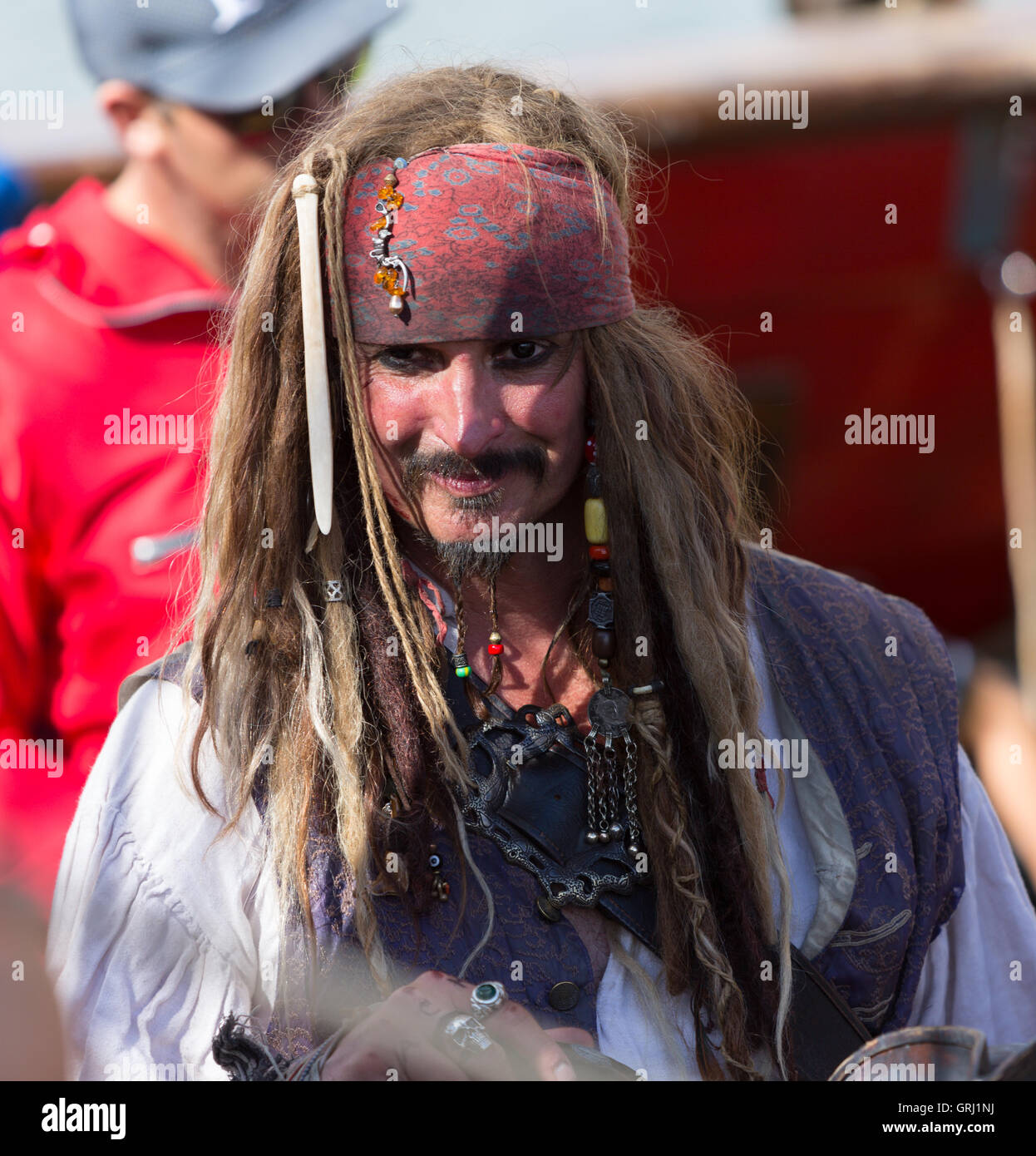 Pirates of the Caribbean Johnny Depp Russian copy seaman at the Tall Ships Race arriving Gothenburg 2016 - Stock Image