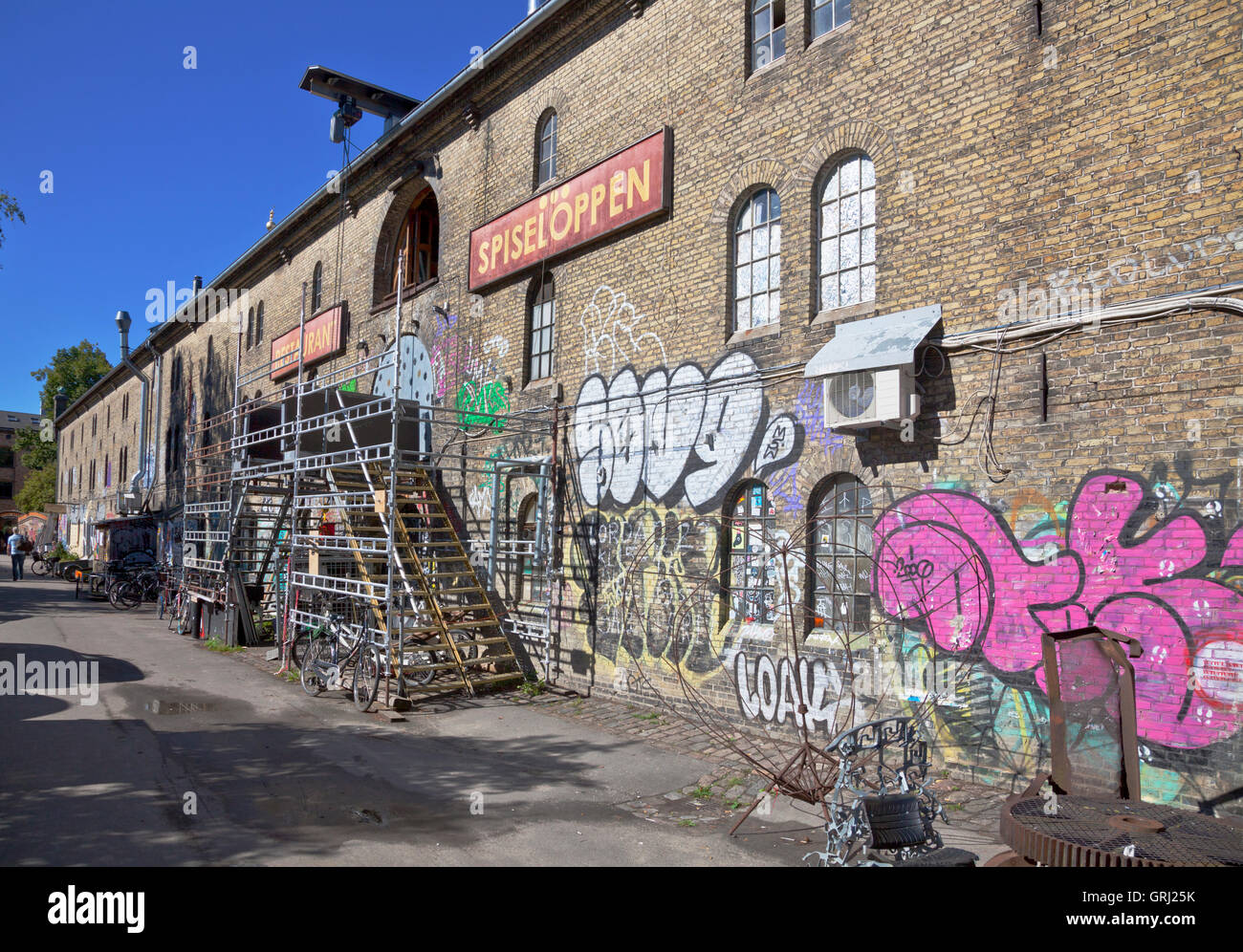 Restaurant 'Spiseloppen' in freetown Christiania, Copenhagen, the most 'real' restauant in Christiania. - Stock Image