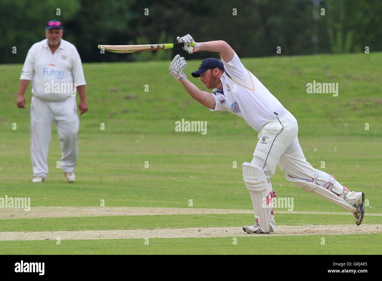 Paul Hurworth in batting action for Ardleigh Green during Ardleigh Green CC vs Westcliff-on-Sea CC, Shepherd Neame Stock Photo
