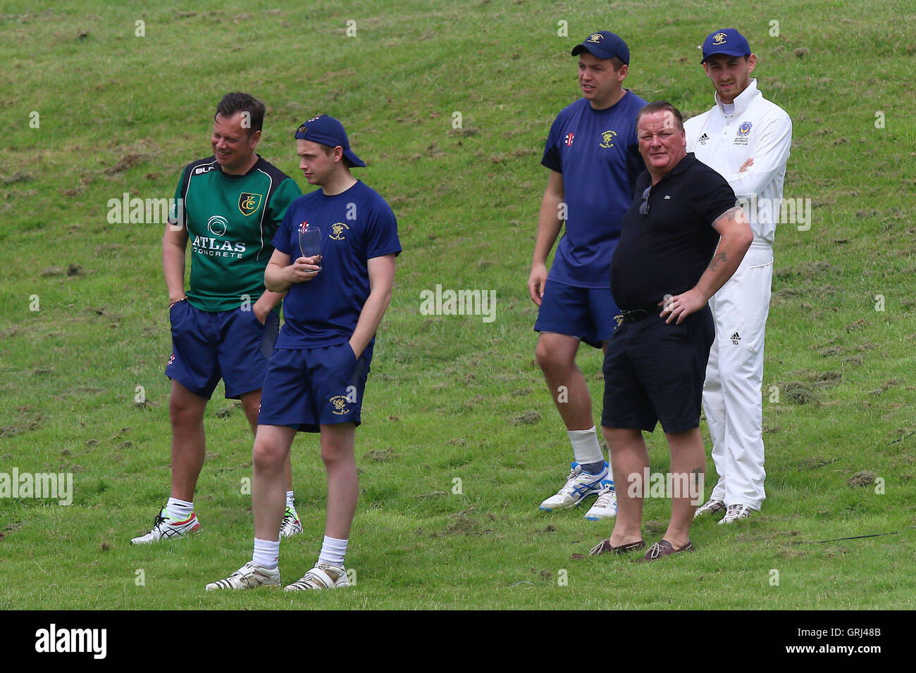 Ardleigh Green players look on during Ardleigh Green CC vs Westcliff-on-Sea CC, Shepherd Neame Essex League Cricket Stock Photo