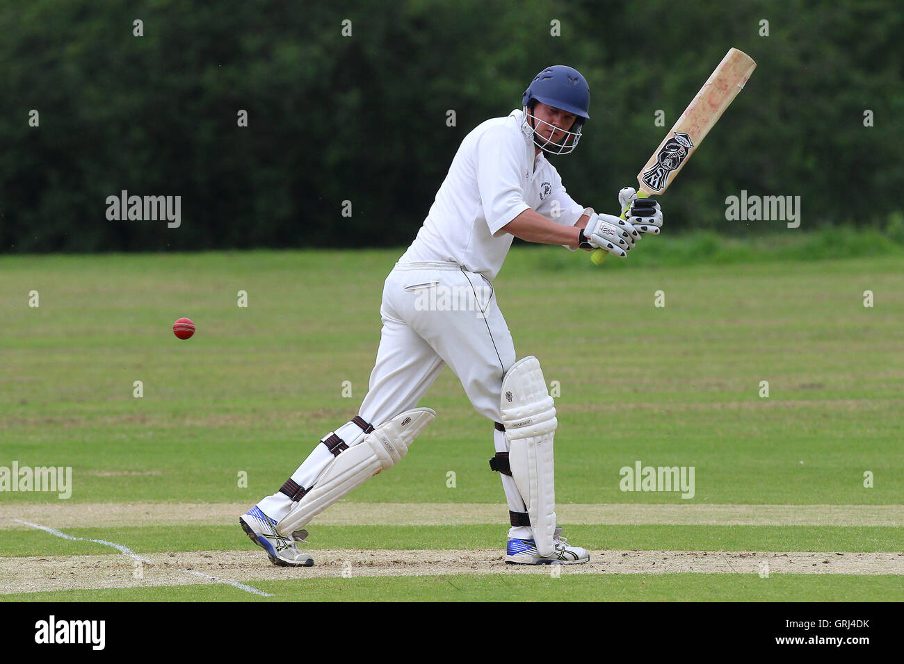 Jon Bayfield in batting action for Ardleigh Green during Ardleigh Green CC vs Westcliff-on-Sea CC, Shepherd Neame Stock Photo