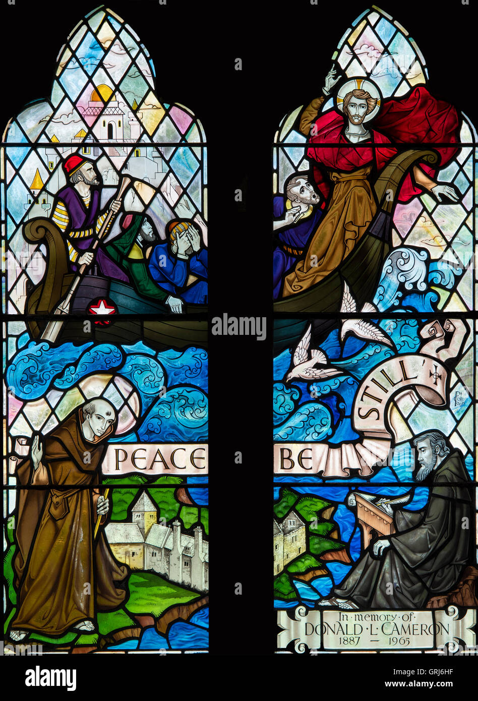 Christ Calming the Waters, and the Welsh Saints Seiriol and Cybi depicted near the Priory Church, Penmon, Anglesey, - Stock Image