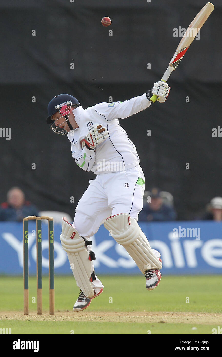 Tom Poynton of Derbyshire is struck by a Graham Napier bouncer - Derbyshire CCC vs Essex CCC - LV County Championship - Stock Image