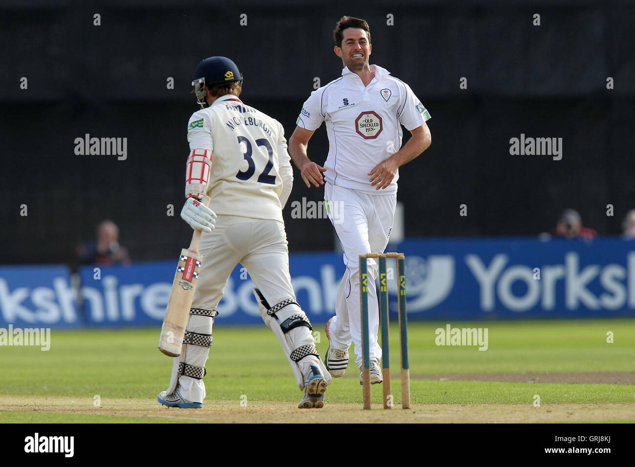 Tim Groenewald of Derbyshire celebrates the wicket of Jaik Mickleburgh - Derbyshire CCC vs Essex CCC - LV County - Stock Image