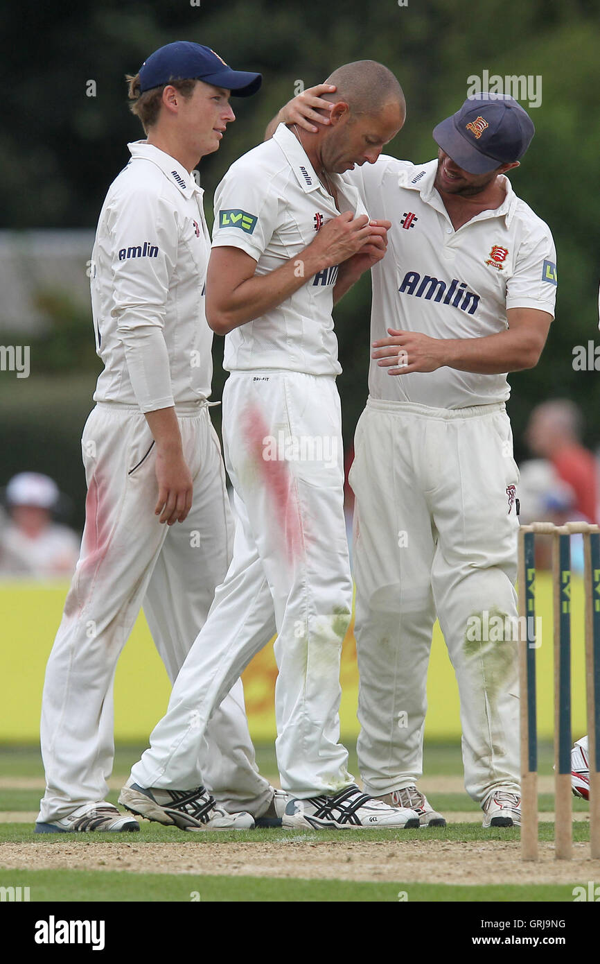 Charl Willoughby of Essex celebrates the wicket of Robert Croft - Essex CCC vs Glamorgan CCC - LV County Championship - Stock Image