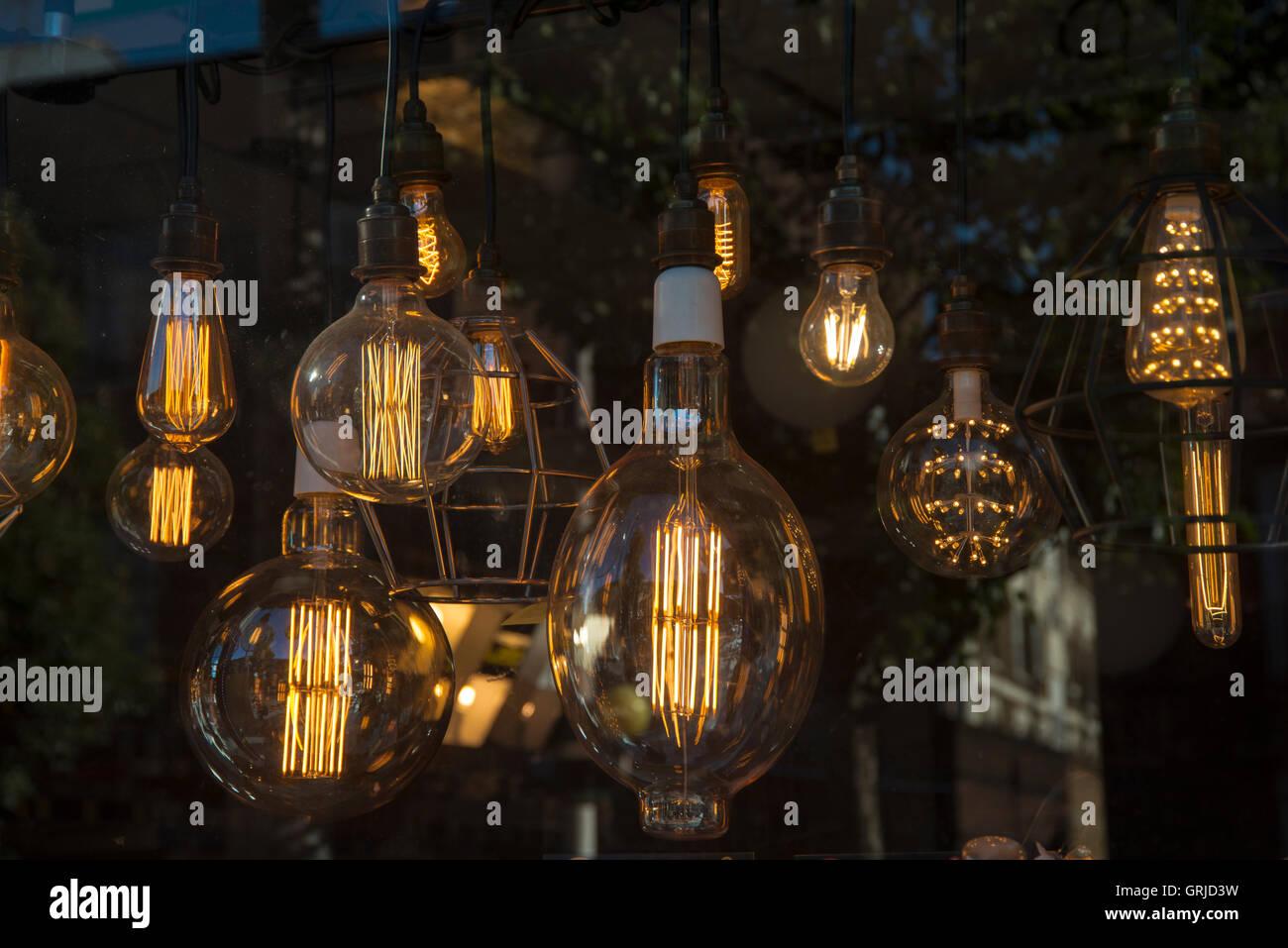 lightbulbs hanging in a lighting shop window - Stock Image