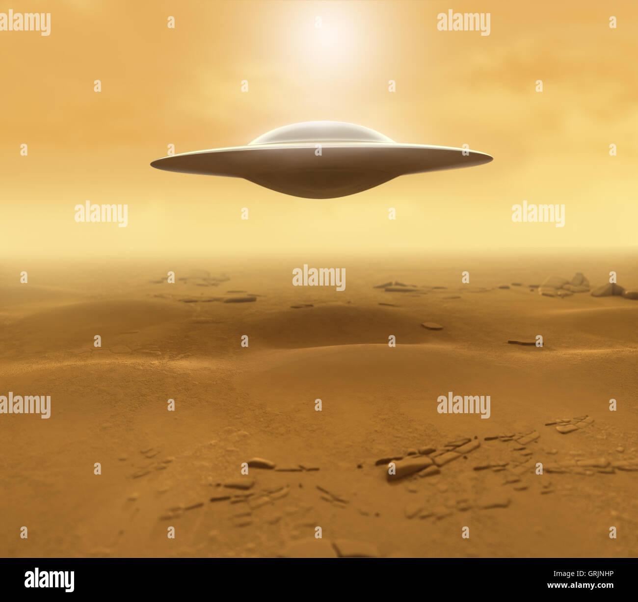 UFO in the Desert - Stock Image