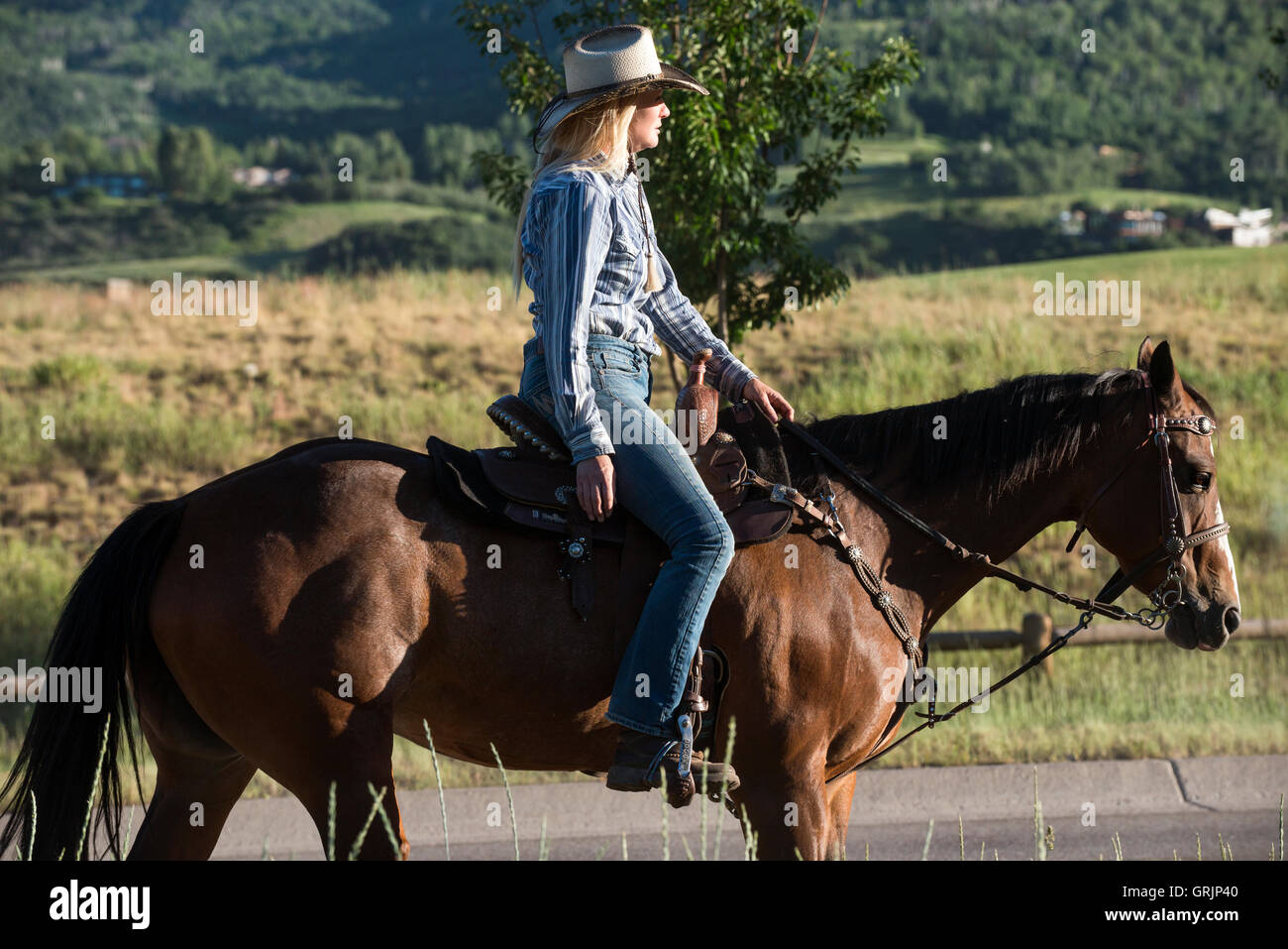 Female adult cowgirl riding a bay horse along the road toward the rodeo at sunset - Stock Image
