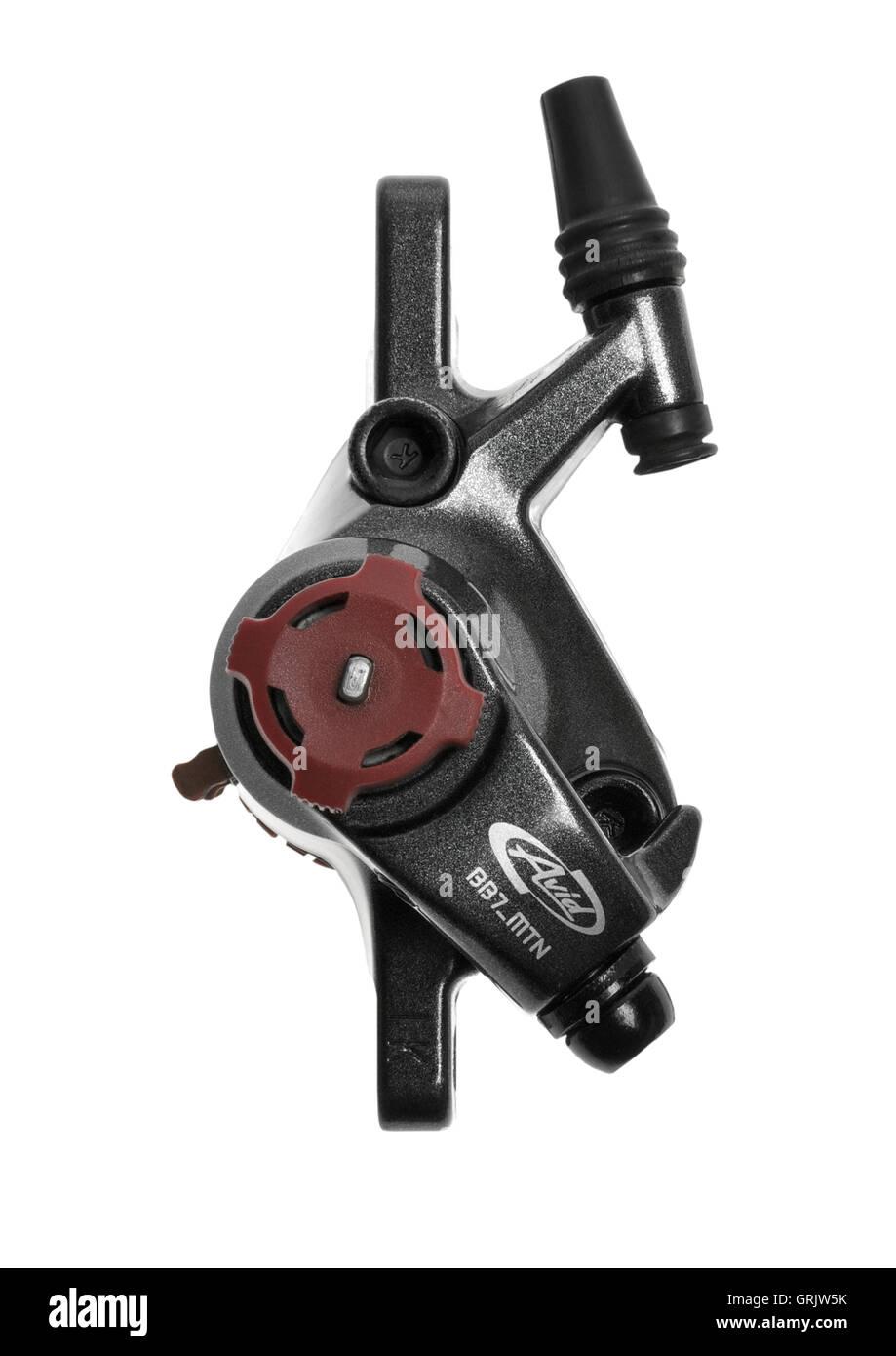 Avid BB7 disk brake caliper on white background - Stock Image