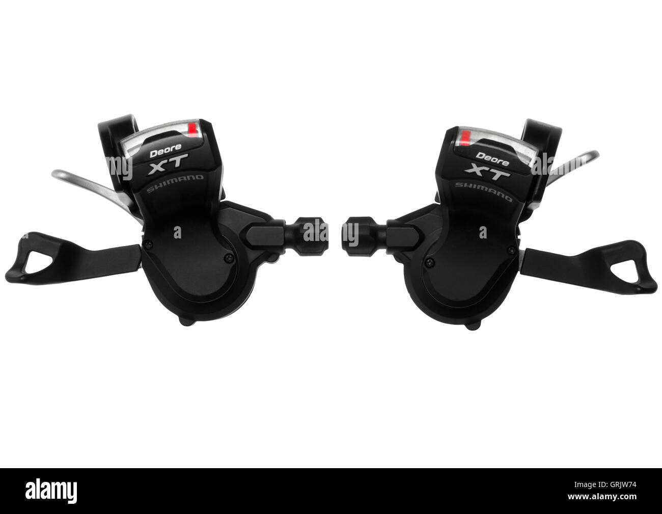 Shimano XT SL-M770 9 speed rapid fire shifter pods on white background - Stock Image