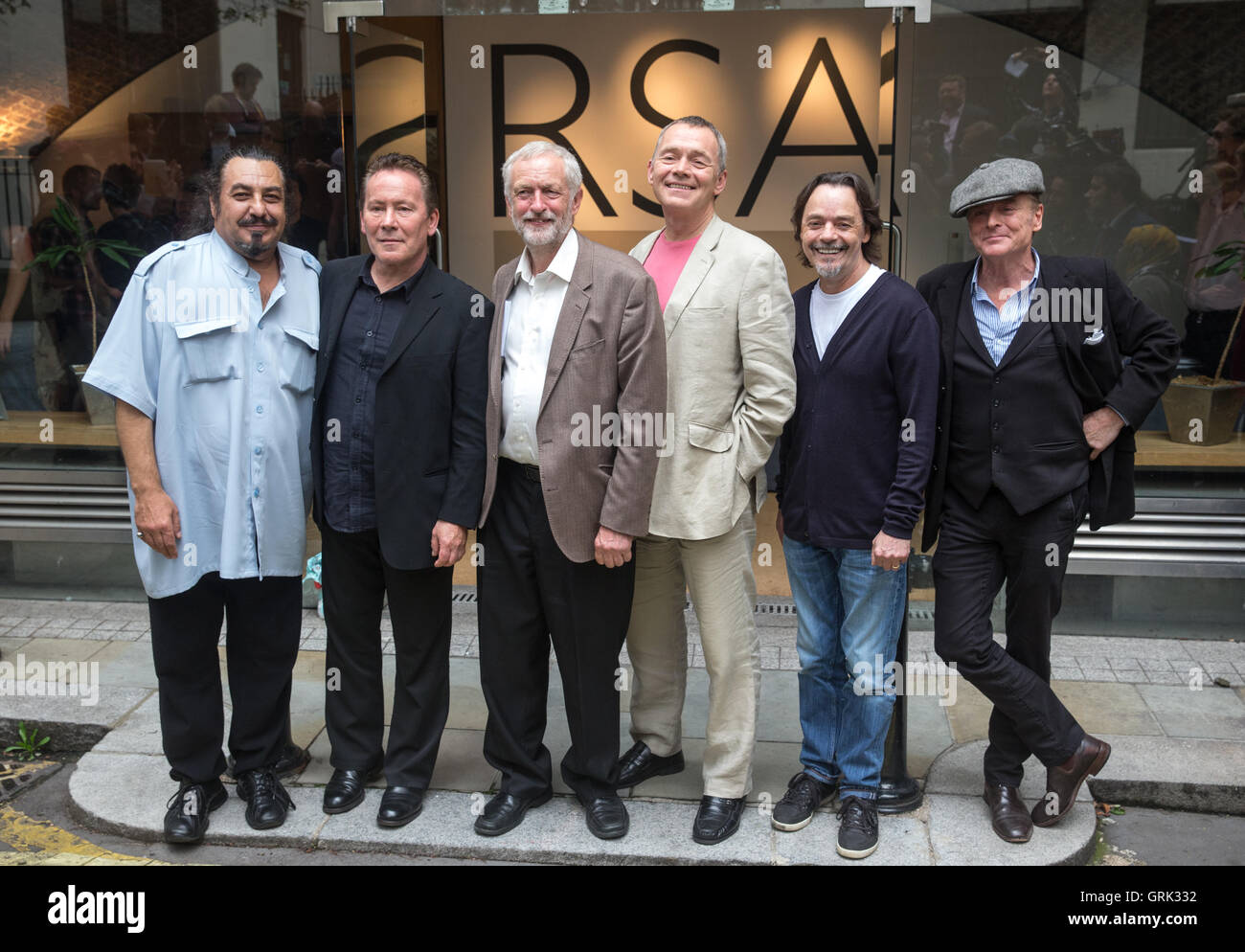 Labour leader Jeremy Corbyn (3L) with UK reggae band UB40 following a press conference in London, Britain, 06 September - Stock Image