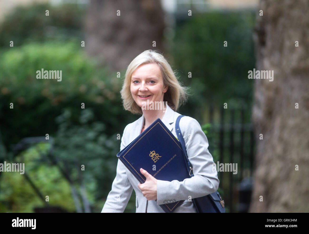 Liz Truss,Secretary of State for Justice and Lord Chancellor,arrives at Downing Street for a Cabinet meeting - Stock Image