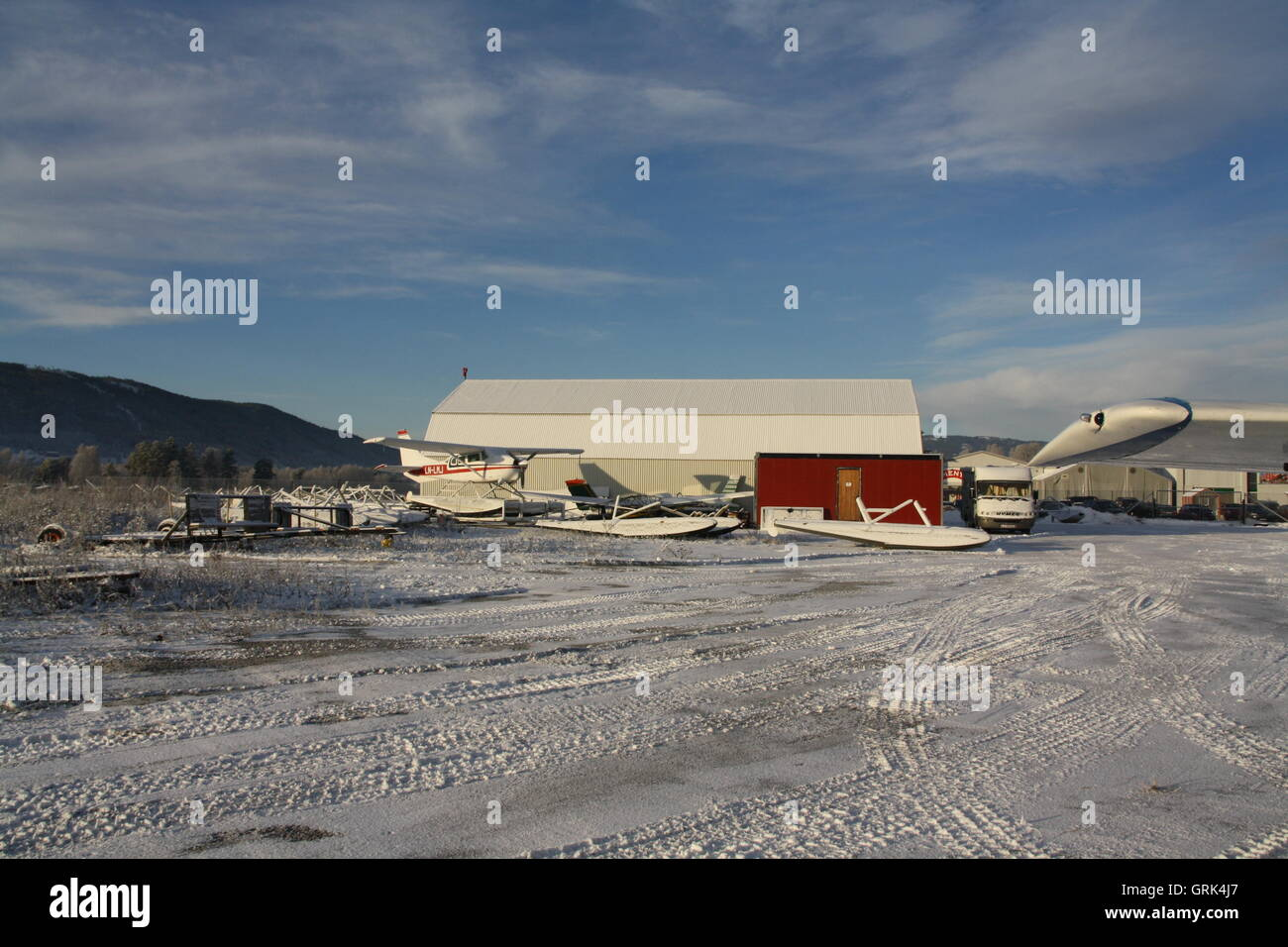 Winter morning at Notodden Airport - Stock Image