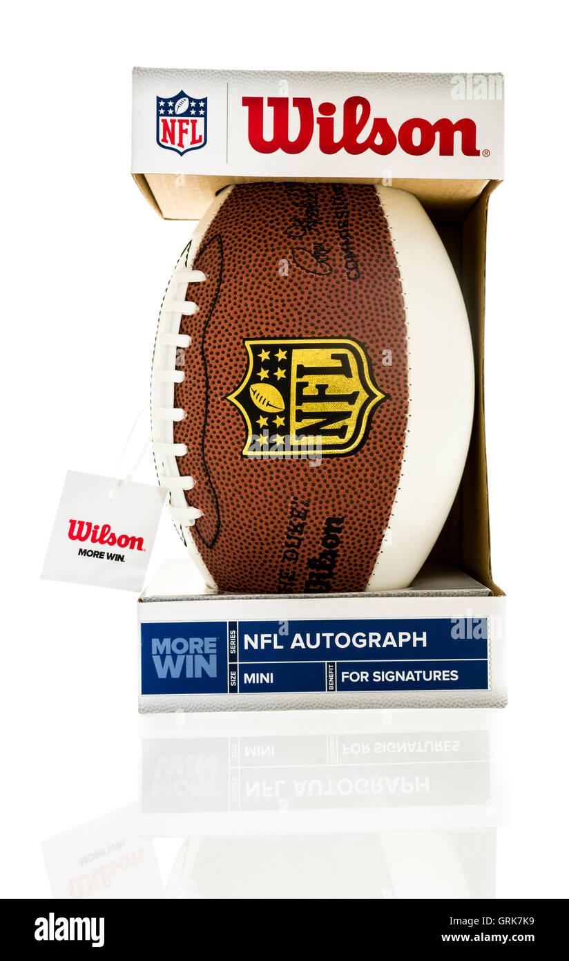 Winneconne, WI - 1 August 2016: Wilson mini NFL football made for autographs on an isolated background. - Stock Image