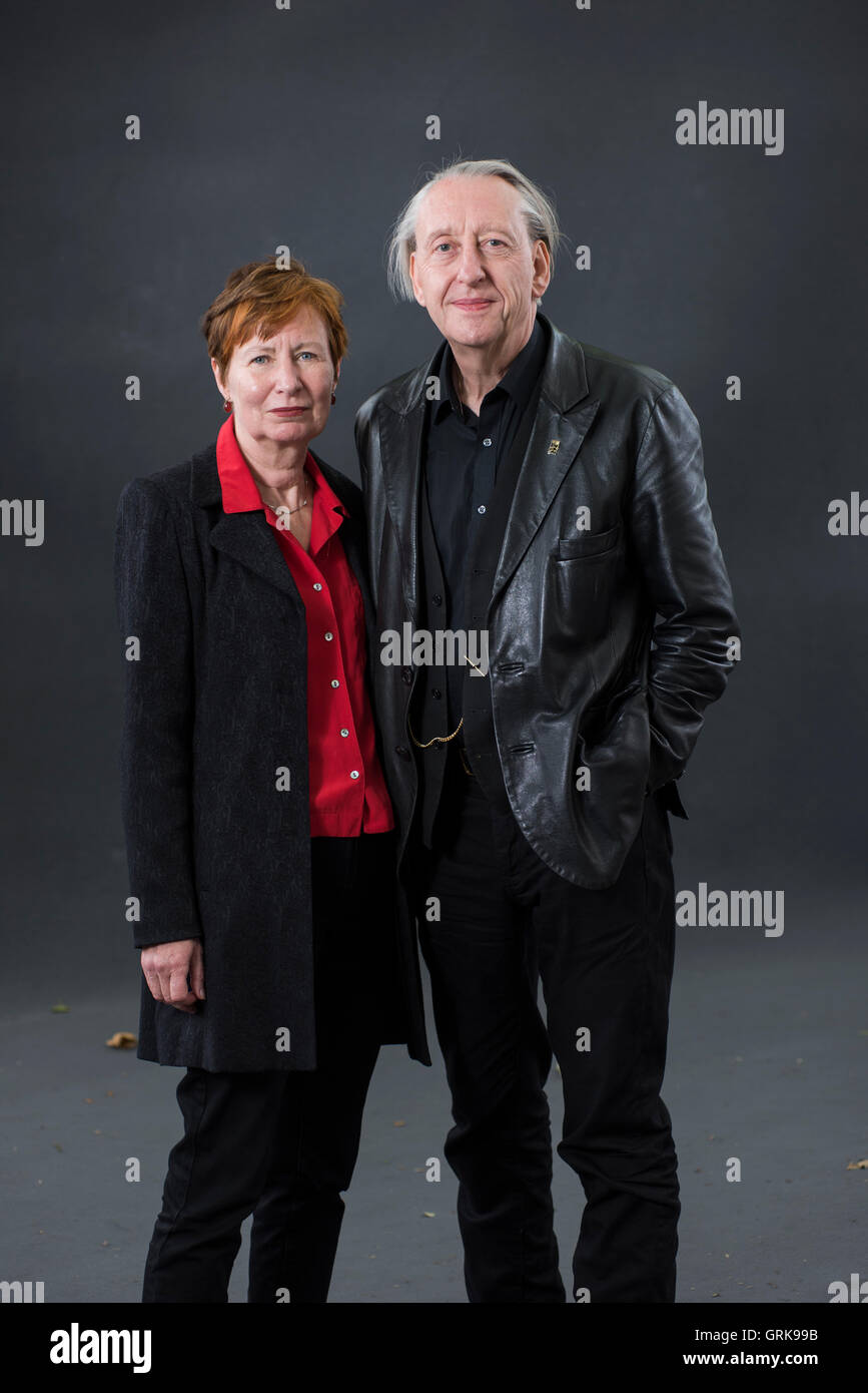 British comic book artist and writer Bryan Talbot together with his wife, British academic and author Mary M Talbot. - Stock Image