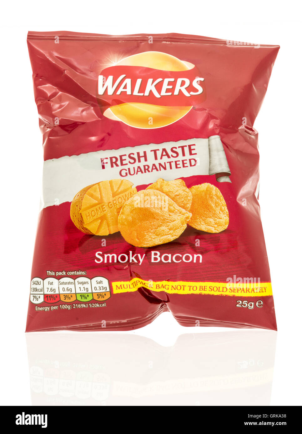 Winneconne, WI - 12 August 2016: Bag of Walkers chips in smokey bacon flavor on an isolated background. - Stock Image