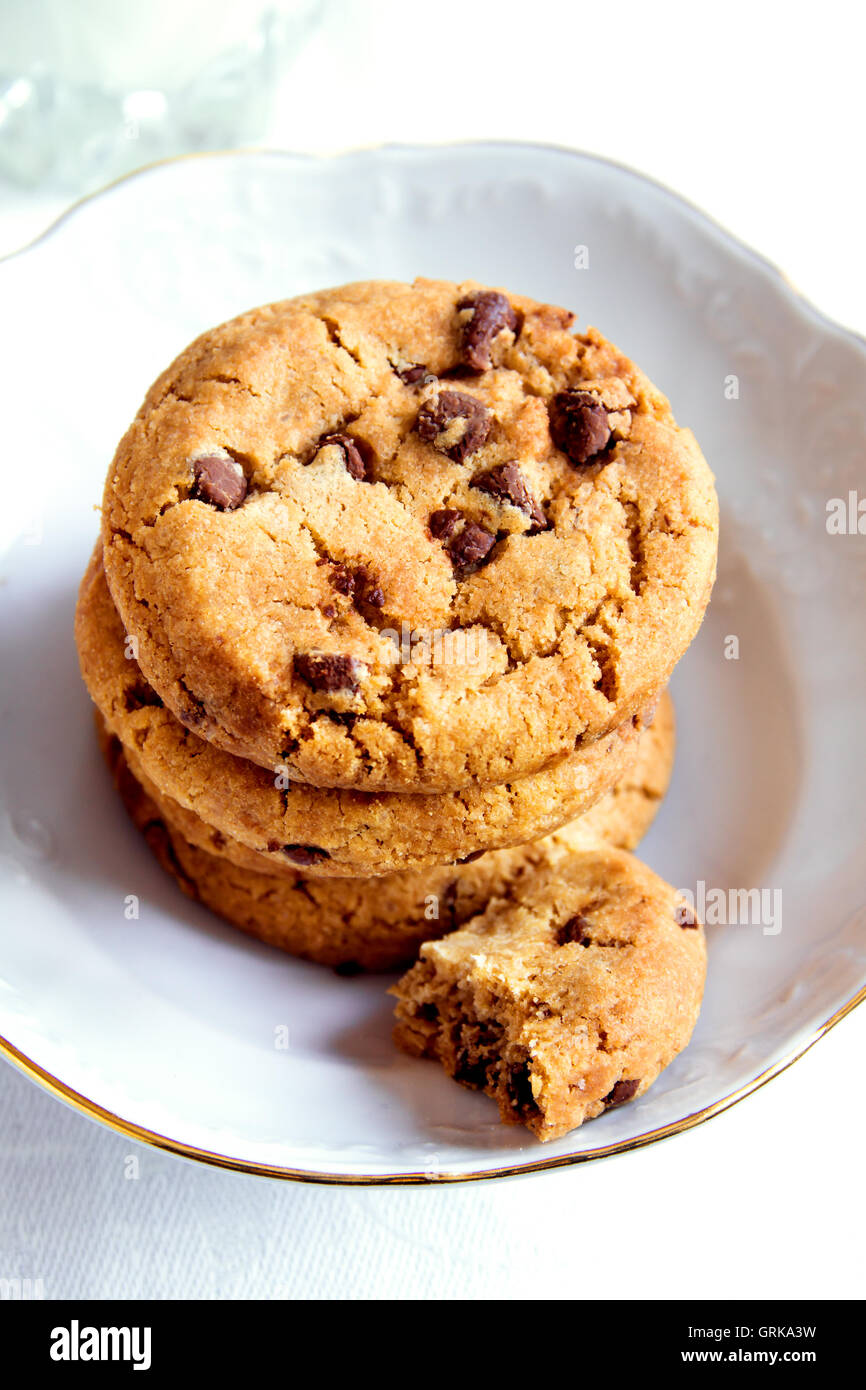 Chocolate chip cookies in white bowl close up Stock Photo