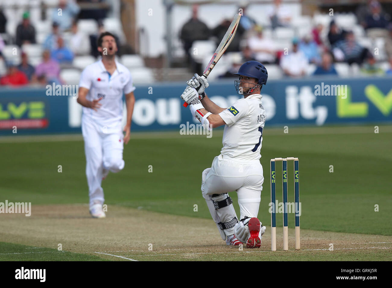 James Foster of Essex attacks the bowling of Tim Groenewald - Essex CCC vs Derbyshire CCC - LV County Championship - Stock Image