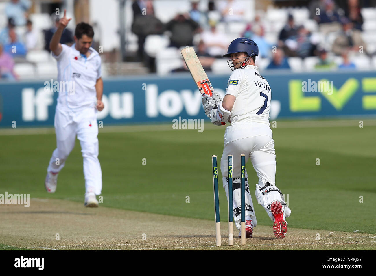 James Foster of Essex is bowled out by Tim Groenewald - Essex CCC vs Derbyshire CCC - LV County Championship Division - Stock Image