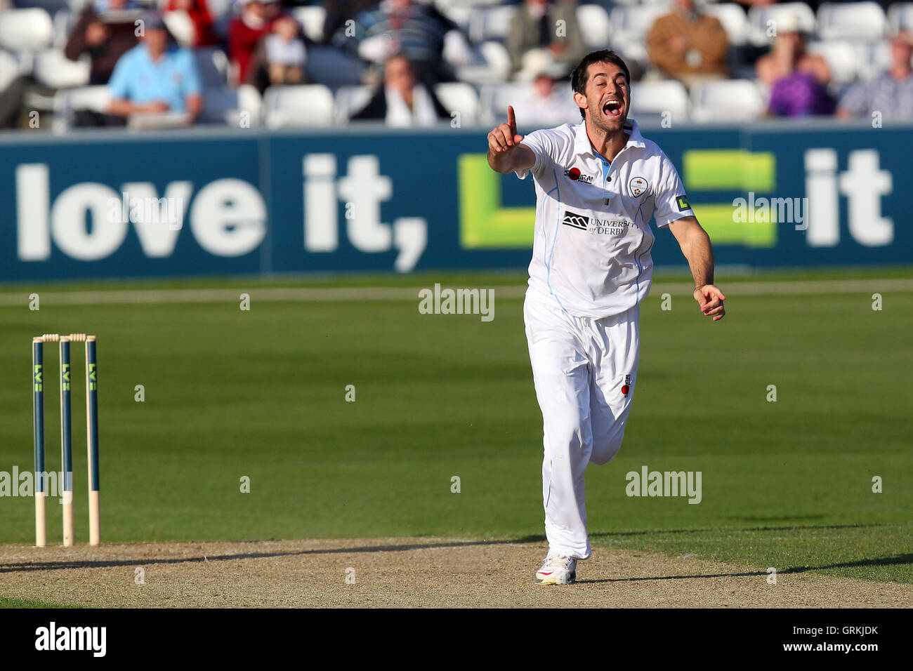 Tim Groenewald of Derbyshire celebrates the wicket of Greg Smith - Essex CCC vs Derbyshire CCC - LV County Championship - Stock Image