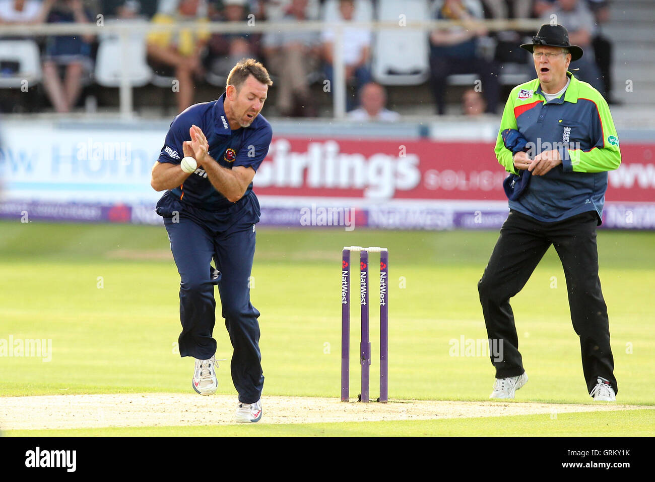 David Masters attempts evasive action but the ball hits him - Kent Spitfires vs Essex Eagles - Natwest T20 Blast - Stock Image