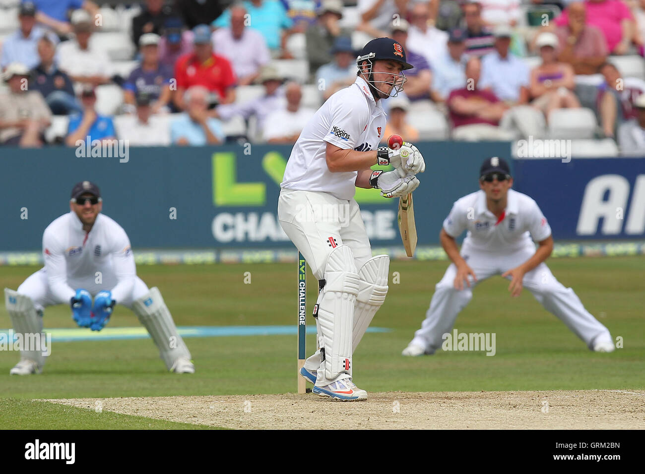Hamish Rutherford of Essex takes evasive action from a Tim Bresnan delivery - Essex CCC vs England - LV Challenge - Stock Image