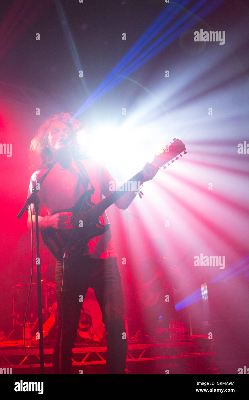 Stu Mackenzie of King Gizzard and the Lizzard Wizzard on day 4 of the 2016 End of the Road Festival in Larmer Tree - Stock Image
