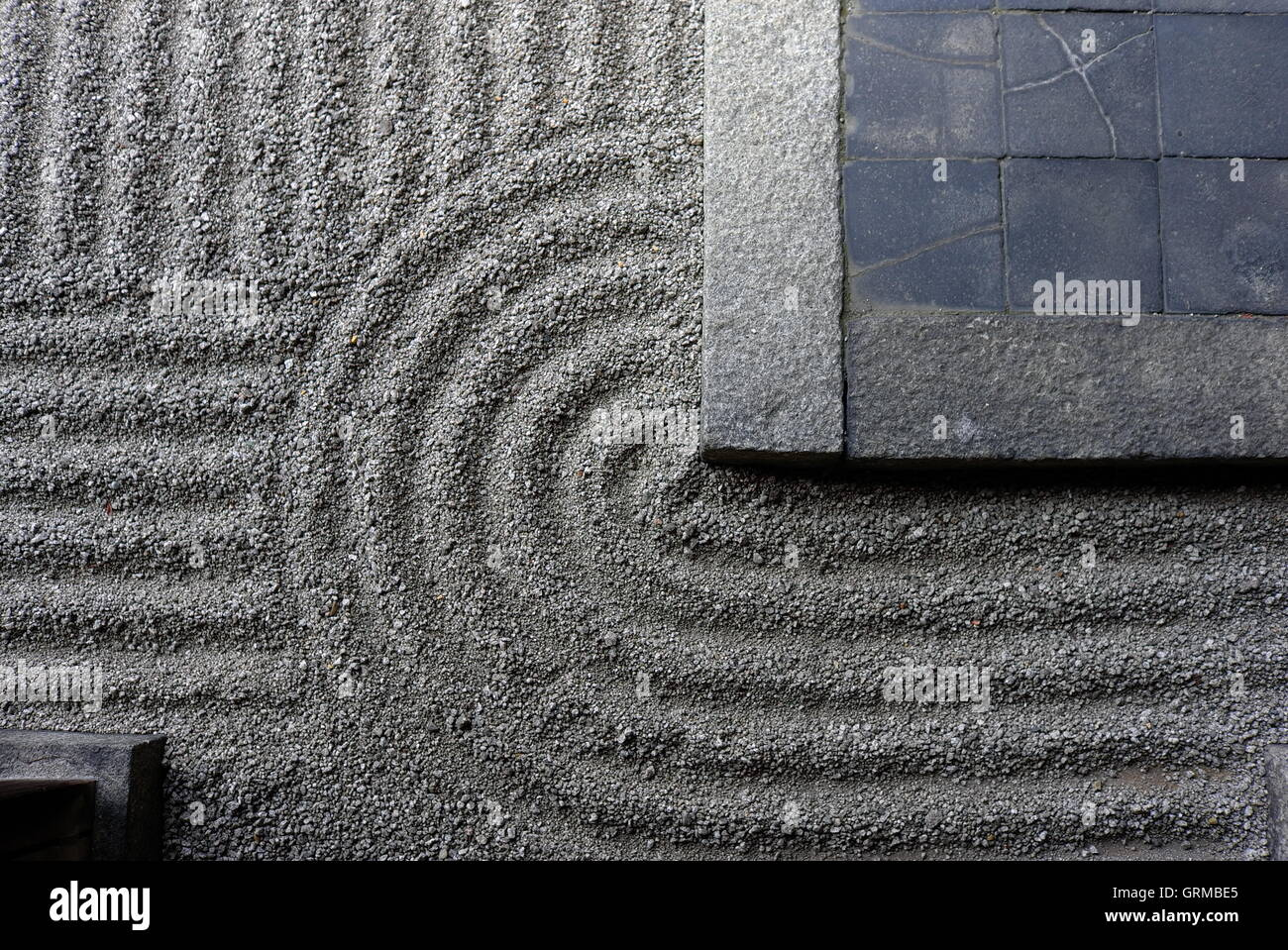 Zen garden raked gravel monks Kyoto - Stock Image