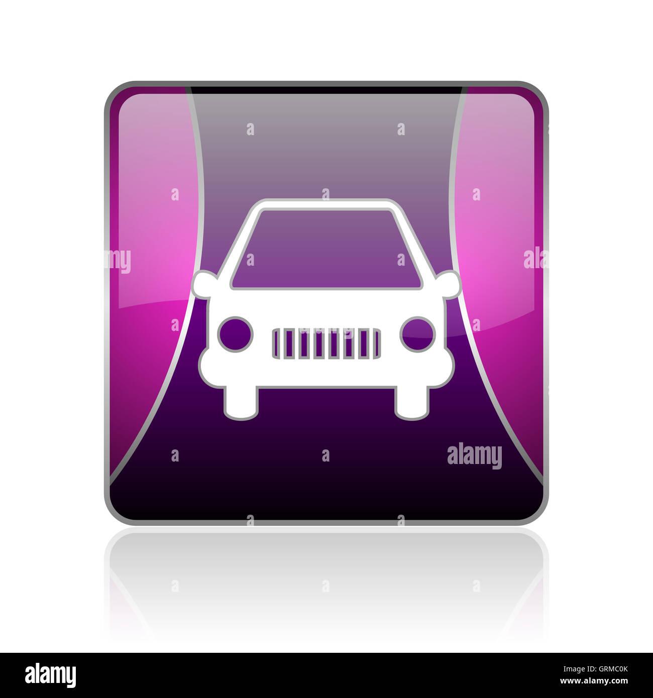 car violet square web glossy icon Stock Photo