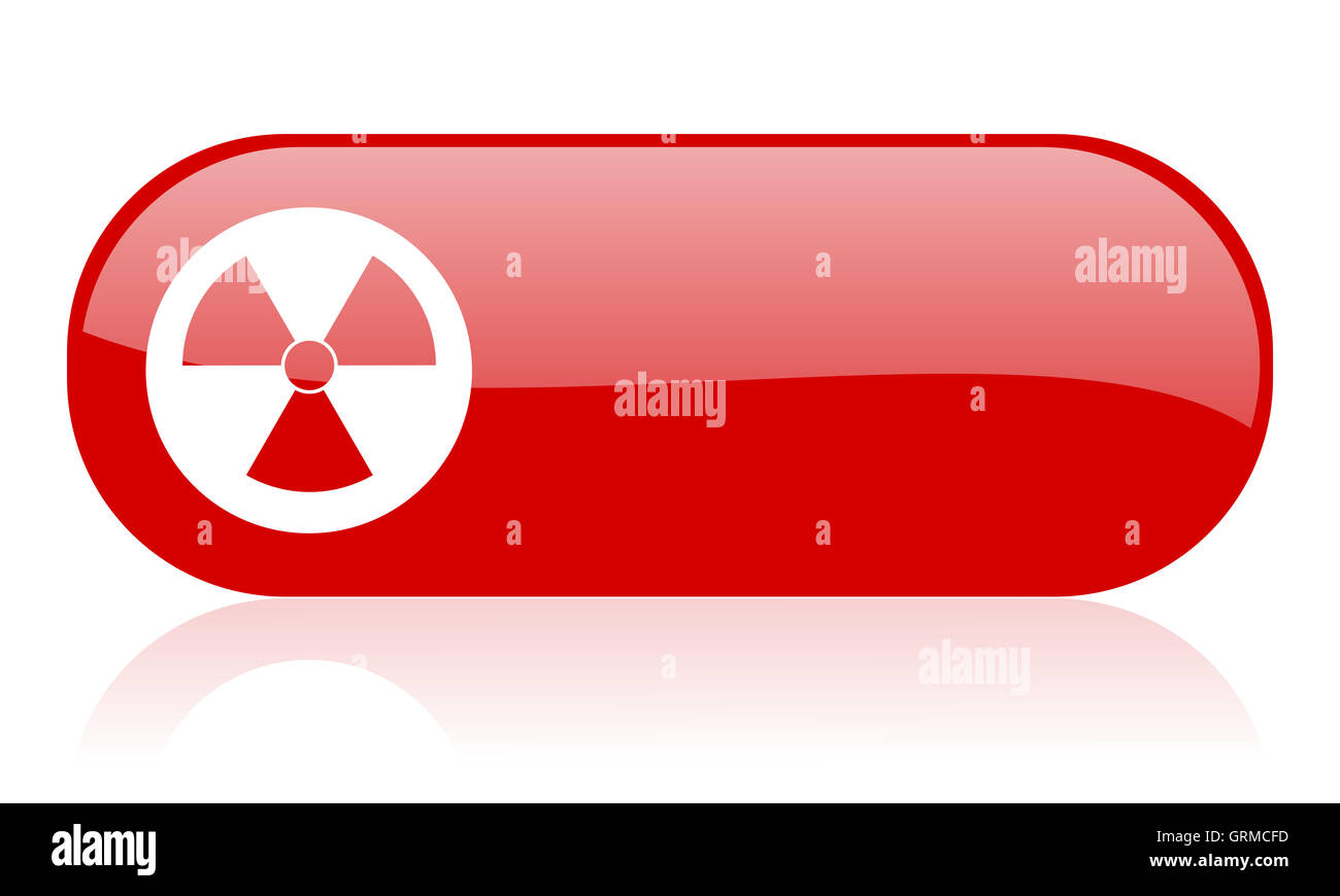 radiation red web glossy icon - Stock Image