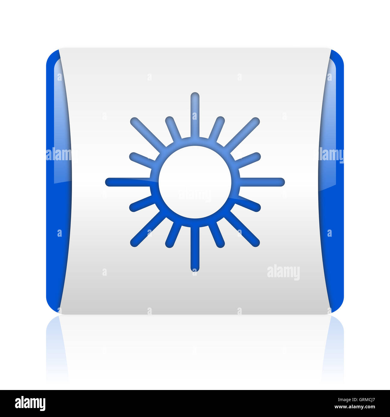 sun blue square web glossy icon - Stock Image