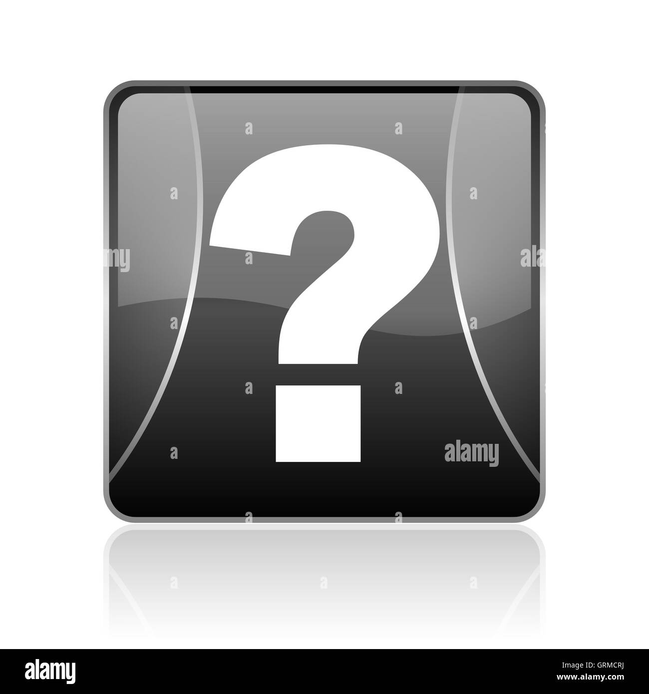 question mark black square web glossy icon - Stock Image