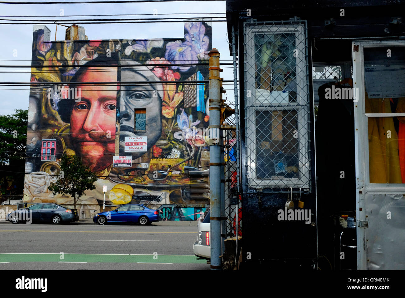 Street art mural along Christopher Columbus Drive,Jersey City,New Jersey,USA - Stock Image