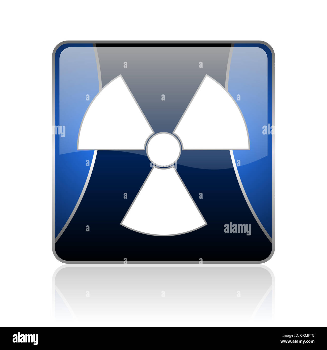 radiation blue square web glossy icon - Stock Image