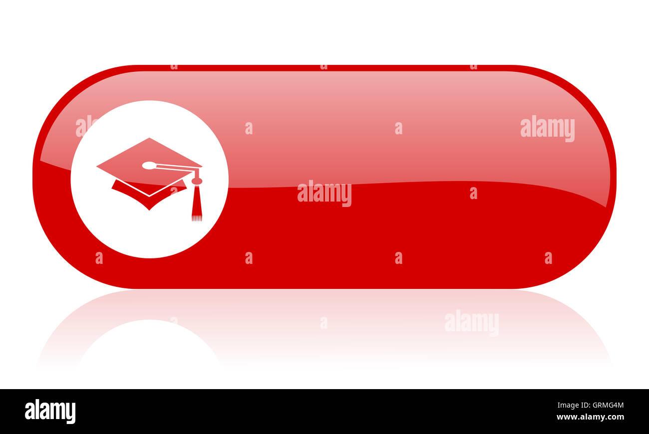 graduation red web glossy icon - Stock Image