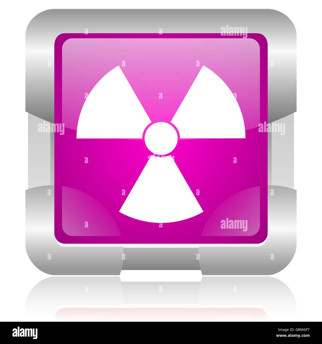 radiation pink square web glossy icon - Stock Image