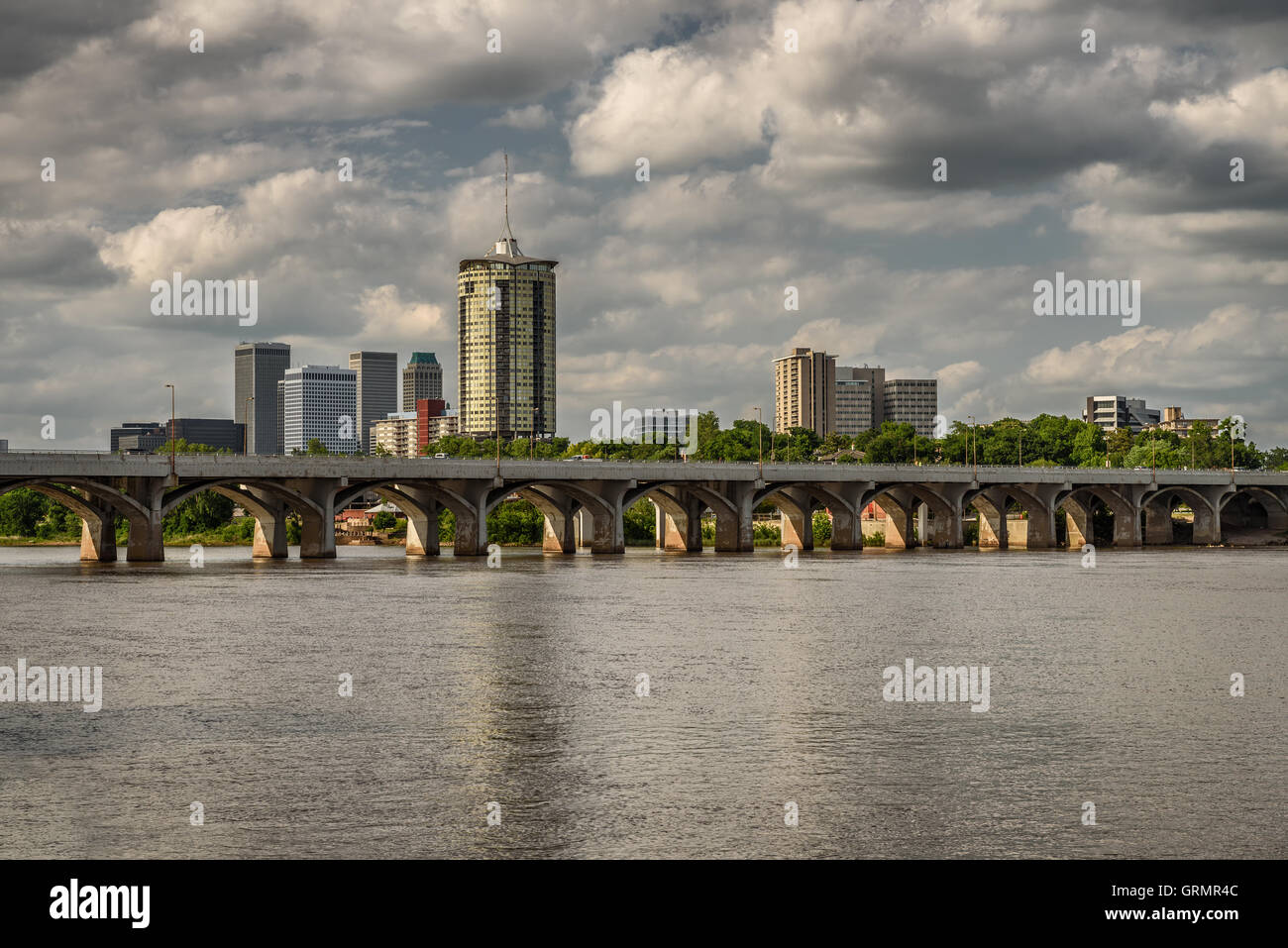 Skyline of Tulsa, Oklahoma with Arkansas river in the foreground - Stock Image