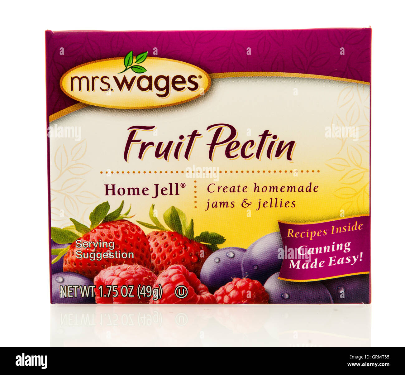 Winneconne, WI - 3 September 2016:  Box of Mrs Wages fruit pectin for homemade jams and jellies on an isolated background. - Stock Image