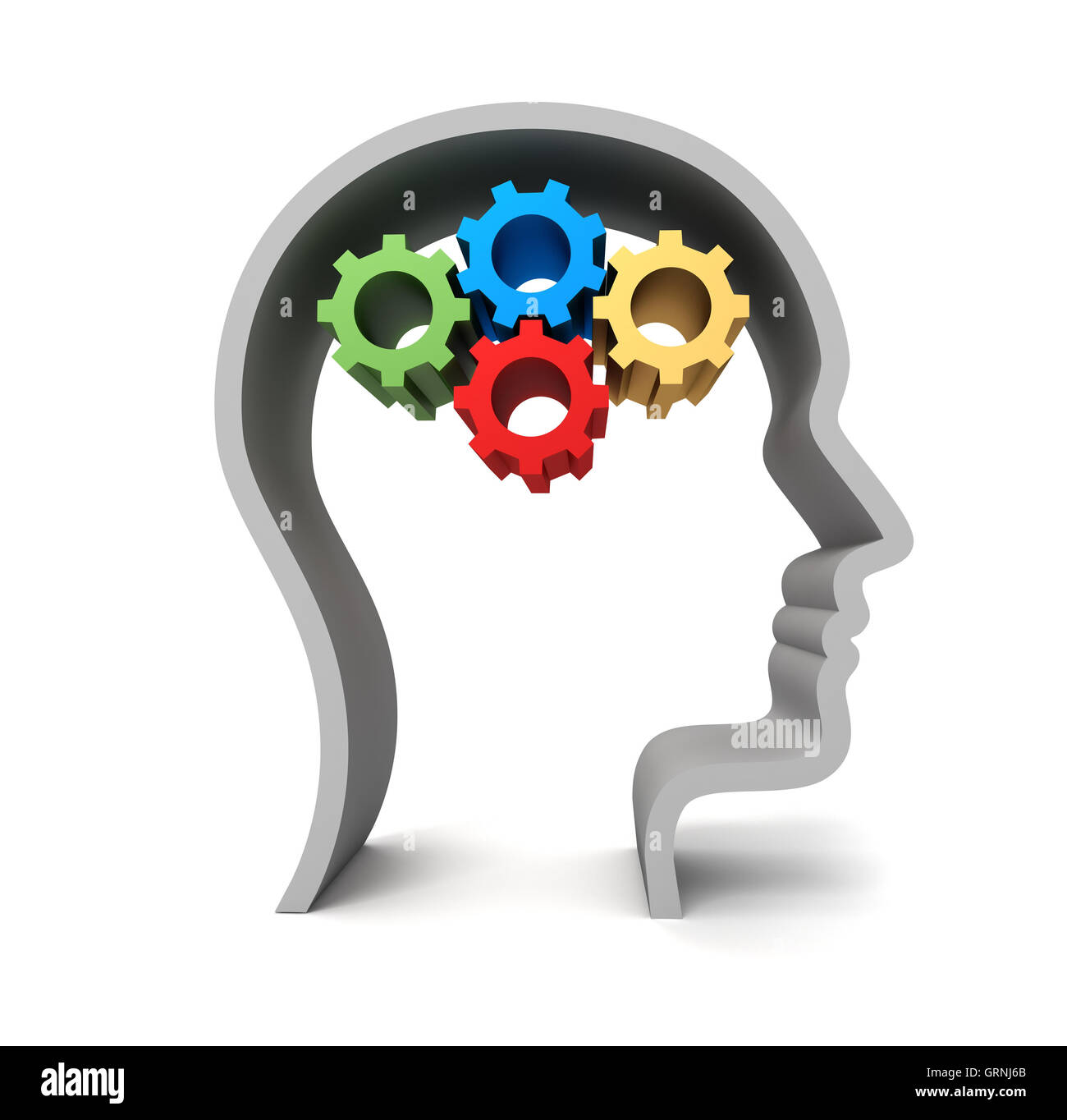 brain gears concept illustration - Stock Image