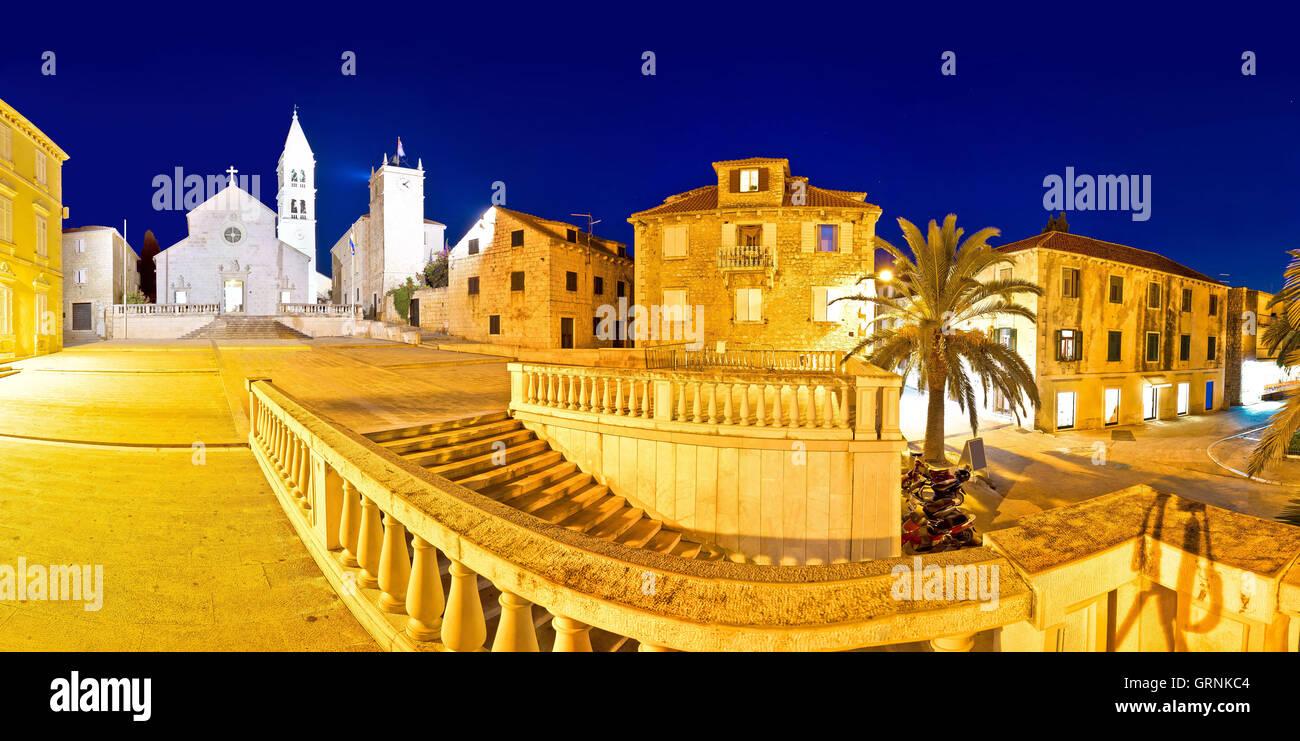 Town of Supetar on Brac island evening panorama, Dalmatia, Croatia - Stock Image