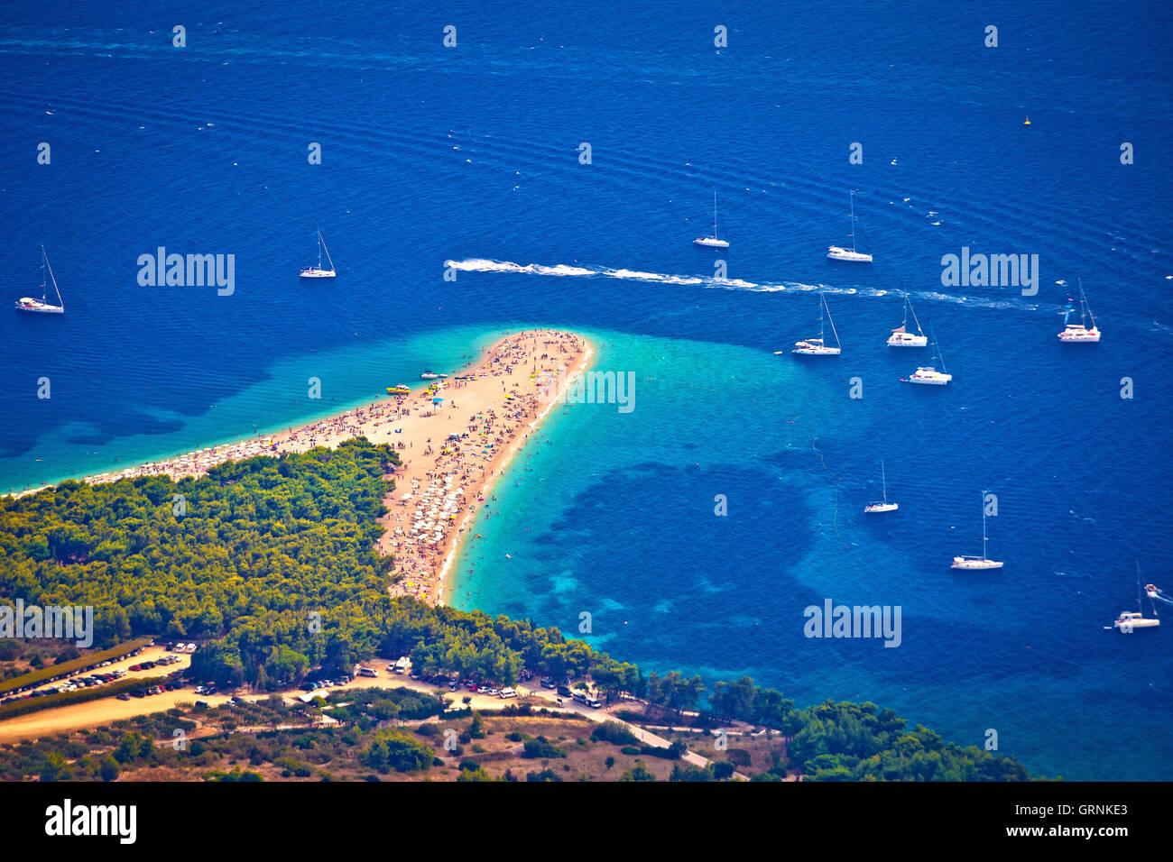 Zlatni rat beach aerial view, Island of Brac, Dalmatia, Croatia - Stock Image