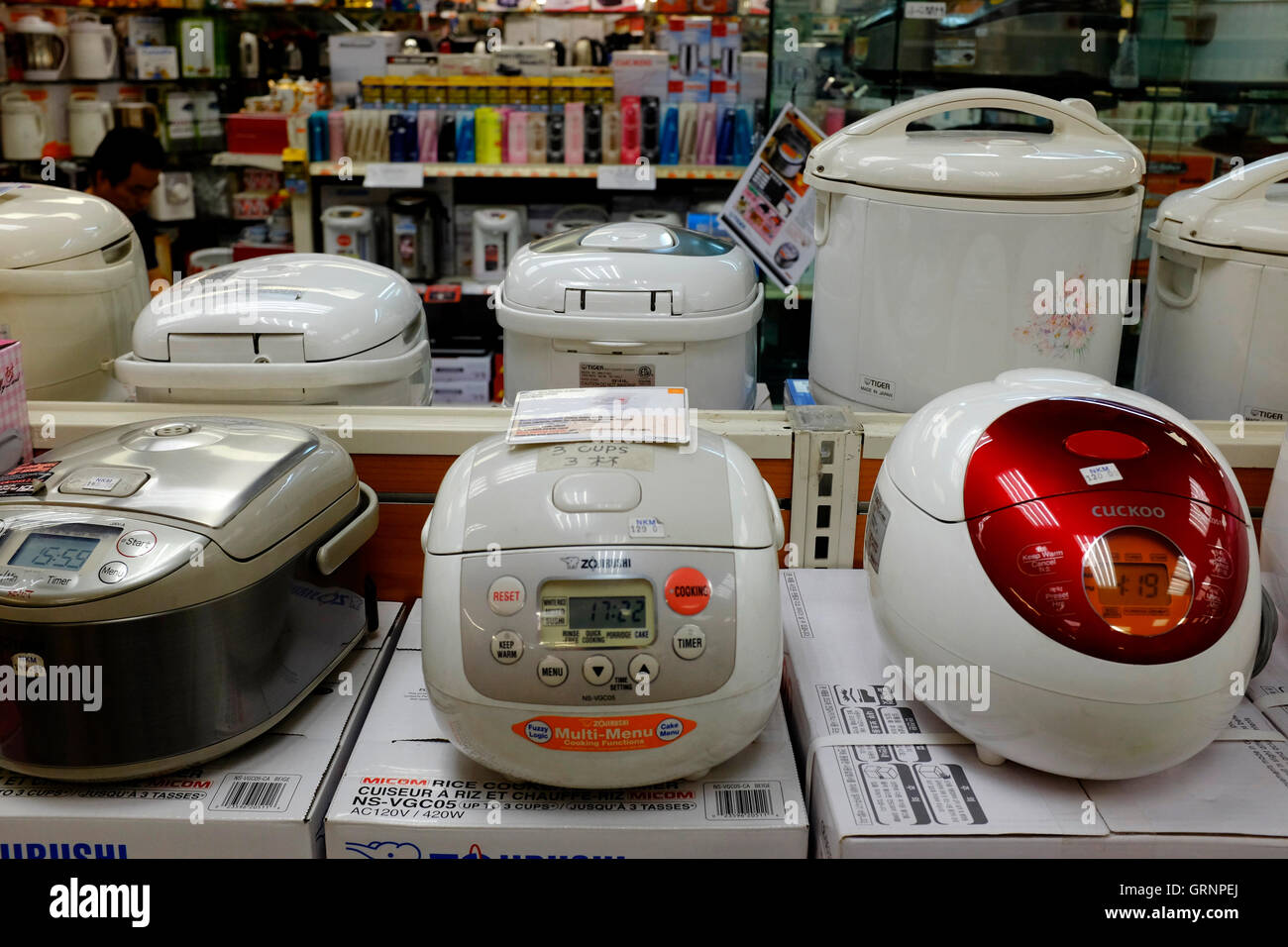 Rice cookers for sale in New Kam Man store the one of the biggest Chinese grocery store in Chinatown.Manhattan,New - Stock Image