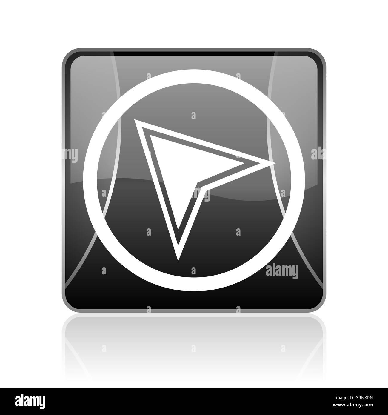 navigation black square web glossy icon - Stock Image