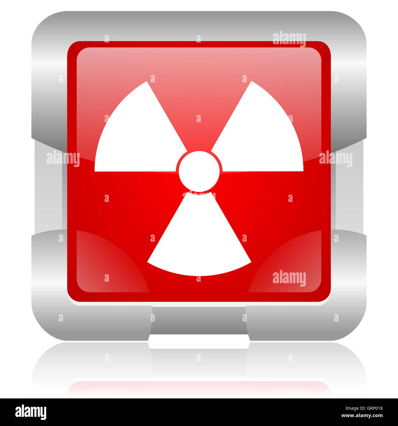 radiation red square web glossy icon - Stock Image